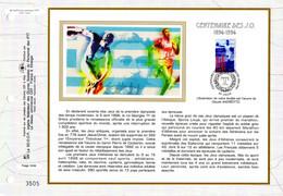 """"""" 100 ANS DES J.O. """" Sur Feuillet CEF 1er Jour Sur Soie De 1996. N° YT 3016. FDC - Other"""