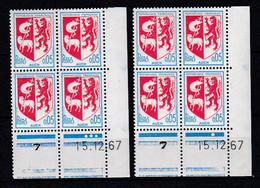 Cd5222 YvT 1468 Blason Auch 2 Coins Datés 15/12/67 N** - 1960-1969