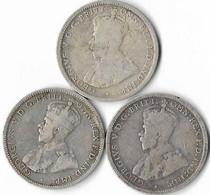 Australie  1  Shilling  Lot De 3 Monnaies 1914-1916-1917 - Shilling