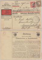 Bayern - 3+10 Pfg Wappen Perfin KMF Nachnahme Drucksachenkarte München 1910 N. - Bavaria