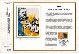 """"""" 100 ANS DU VACCIN CONTRE LA RAGE / LOUIS PASTEUR """" Sur Feuillet CEF 1er Jour Sur Soie De 1985. N° YT 2371. FDC - Louis Pasteur"""
