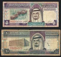 ARABIE SAOUDITE - 2 BILLETS ANCIENS De 5 Et 10 DINARS- 1/2 DINAR - B /TB Froissures - Saudi Arabia