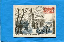 Carte Illustrée  Facteur 2cv Citroën-poste RuraleJournée Du Timbre 1958 Cachet ORAN - Cartas