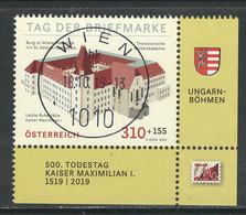 Oostenrijk 2019, Mi 3488, Tag Der Briefmarke, Hele  Hoge Waarde,  Hoekblok, Toeslag, Prachtig Gestempeld - 2011-... Oblitérés