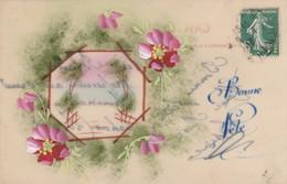 CPA En Celluloïd Peinte à La Main Fleur Paysage  Fantaisie Illustrateur  (2 Scans) - Other