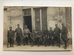 Foto Ak Soldats Francais Poilu Machine Et Vohure D' Enfant - War 1914-18