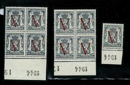N° 670-1 -3     Bloc De 4 Et Autres    **  Millésime 1944 Pour Tous - 1935-1949 Sellos Pequeños Del Estado