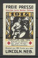 USA Germany Deutschen In Amerika 1914 Red Cross Roter Kreuz Freie Presse Wochenzeitung  MNH - Red Cross