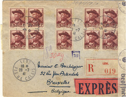 "FRANCE 1941 LSC Recom. Par ""EXPRÈS"" De Lens à Bruxelles Censurée - Affrt 10fr (10xYv.495 1fr Mistral) - 1921-1960: Modern Tijdperk"
