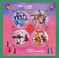 INDIA 2020 Inde Indien - SALUTE TO COVID-19 WARRIORS 4v Miniature Sheet MNH ** - CORONA PANDEMIC, Disease - As Scan - Enfermedades