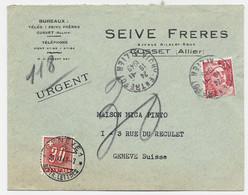 GANDON 15FR ROUGE SEUL LETTRE TAD VICHY ENTREPOT 19.11.1949 ALLIER POUR GENEVE TAXE 30C ROUGE - 1945-54 Marianne De Gandon
