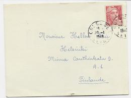 GANDON 6FR ROUGE SEUL CARTE RADIO AMATEUR COLOMBES SEINE 20.1.1948 POUR FINLANDE AU TARIF - 1945-54 Marianne (Gandon)