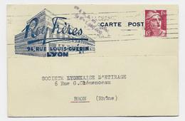 GANDON 1FR50 SEUL CARTE PUB ROY FRERES LYON 1945 AU TARIF - 1945-54 Marianne De Gandon