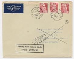 GANDON 15FR ROUGEX3 LETTRE AVION PETITE ROSSELLE 2.12.1949 MOSELLE POUR CAYENNE GUYANE - 1945-54 Marianne De Gandon