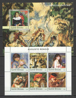 NS348 2003 GUINEA-BISSAU ART PAINTINGS IMPRESSIONISTS AUGUSTE RENOIR 1BL+1KB MNH - Andere
