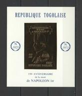 NW0292 IMPERF GOLD 1971 TOGO NAPOLEON ANNIVERSARY BL MICHEL 40 EURO MNH - Napoleón