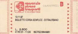 TICKET BUS CPT CONSORZIO PISANO TRASPORTI PISA - Europe