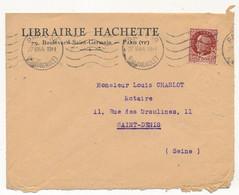 FRANCE - Env. En Tête Librairie Hachette - 1,50 Pétain Bersier Perforé - 1944 - Perfin