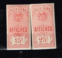 Fiscal Fiscaux Revenue Affiches Ville De Cognac (**) - Fiscale Zegels