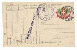GRANDE GUERRA - DA POSTA MILITARE INTENDENZA 2^ARMATA A CAVRIANA - VERIFICATA DALLA CENSURA. - Marcophilia