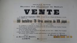 18 Sept. 1916 / VENTE VIN PIQUE / DOMAINES / BELFORD / LETTRE-AFFICHE TIMBREE - 1900 – 1949