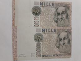 ITALIA 1000 LIRE MARCO POLO STAMPA SPOSTATA N. SERIE HC 292003 E - [ 7] Errors & Varieties