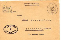 F 4 1941  Lettre En Franchise Ilag VII  TRES RARE - 2. Weltkrieg 1939-1945