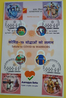 Information Sheet With Salute To Covid 19 Warriors , First Day Cancelled With Four Different , As Per Scan - Enfermedades