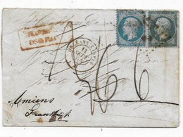Lettres Taxées Lettre Ambulant Orléans à Paris Timbre 20cx2 Empire  Affr.insuff. Taxe Tampon 6 P / LA HOLLANDE 1864 - 1849-1876: Classic Period