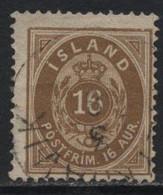 Iceland (11) 1876. 16a Brown. P14x13½.Used. - Oblitérés