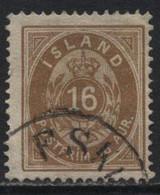 Iceland (12) 1876. 16a Brown. P14x13½.Used. - Oblitérés