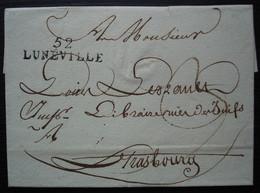Lunéville (Meurthe) Marque 52 / LUNEVILLE 36 X 10 , 24 Ventôse L'an XIII (1805) Pour Strasbourg, Sans Correspondance - 1801-1848: Vorläufer XIX
