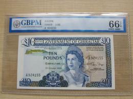 1986 October 21st, 10 Pounds, Elizabeth II, GBPM(China) Graded 66 EPQ, UNC - Gibraltar