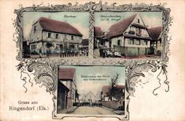 78784- Gruß Aus Ringendorf Mit Hauptstrasse, Bas-Rhin, Arrondissement Saverne 1915 - Saverne