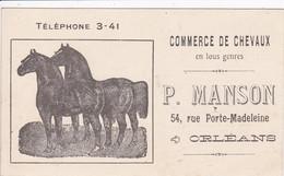 45 ORLEANS Commerce De Chevaux Porte Madeleine Mr Manson Carte Publicitaire ,format 135x80 - Orleans