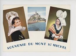 Souvenir Du Mont Saint Michel Multivues N°22/103 Jean (folklore Coiffe Costume Normandie) Cp Vierge - Le Mont Saint Michel
