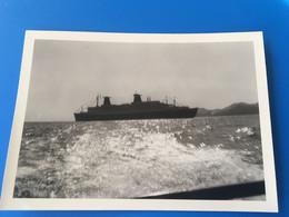 PAQUEBOT NAVIRES Large Marseille Bateau-PhotographiePhotosPhoto Originale-☛Navire à Identifier 2 Cheminées-du Sampiero - Boats