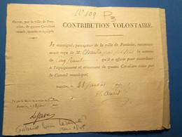 Pontoise 1813: Contribution Volontaire, Signé Mesure Maire De Pontoise. Port 2€ - Manoscritti