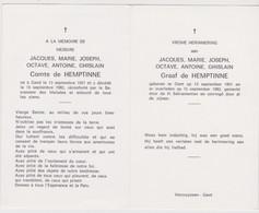 2 Doodsprentjes Adel-Noblesse: J-M-J-O-A-G Graaf De Hemptinne En Echtgenote M-P-J-H-G Barones Van Der Straeten Waillet. - Todesanzeige