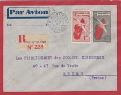 LETTRE MADAGASCAR. 27 JUIL 1937. ENTIER. PAR AVION. RECOMMANDE MAINTIRANO POUR REIMS - Brieven En Documenten