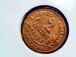 France 2 Centimes 1911 KM 841 - B. 2 Centimes