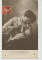 """GUERRE 1914-18 - Jolie Carte Fantaisie Femme Allaitant Son Bébé """"Un Conscrit De La Classe 1935 Qui Ne Fera Pas La Guerre - Regimente"""