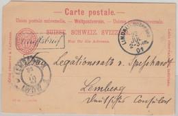 Schweiz - 10 Rp. Ziffer/Oval Ganzsache Ra1 Schiffsbrief Lindau - Lemberg 1901 - Postwaardestukken