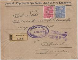 Österreich/Polen - 10+25 H. Franz-Josef Einschreibebrief Krakau - München 1916 - Enteros Postales