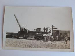 Carte-Photo - Train Avec Enorme Canon, Chargement Des Obus - WWI - Materiale