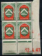 ALGERIE N°254 ** EN BLOC DE 4 DATE DU 12-4-47 - Unused Stamps