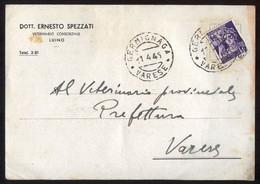 CARTOLINA DI LUINO SPEDITA DA GERMIGNAGA L'8 APRILE 1945 CON 50 Cent MONUMENTI DISTRUTTI REPUBBLICA SOCIALE - Unclassified