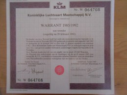 KLM Warrant 1985  // Air France KLM Group - Aviazione