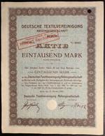 AKTIE Nr.2607 Deutsche Textilvereinigung Aktiengesellschaft In Berlin 1000 Mark / 100 RM Mark Berlin,den 5. Oktober 1920 - D - F