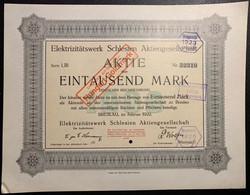 AKTIE Nr.52319 Elektrizitätswerk Schlesien Aktiengesellschaft über 1000 Mark / 100 GM Breslau, Im Februar 1922 - D - F